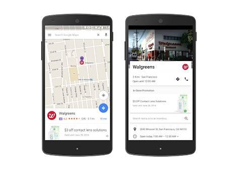 """Yritykset voivat jatkossa maksaa """"pinneistä"""", jotka näytetään karttojen päällä. Niitä klikkaamalla saa lisätietoja."""