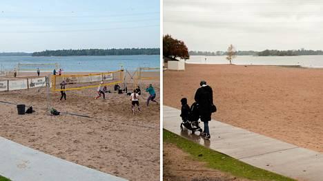 Hietaniemen uimaranta kuvattuna viime syyskuussa ja tänään.