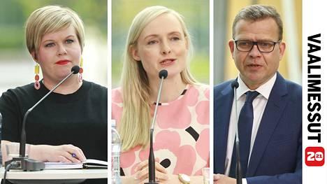 Tiede- ja kulttuuriministeri Annika Saarikko (kesk), sisäministeri Maria Ohisalo (vihr) ja oppositiojohtaja Petteri Orpo (kok) ottivat kipakasti yhteen IS:n kuntavaalitentissä.