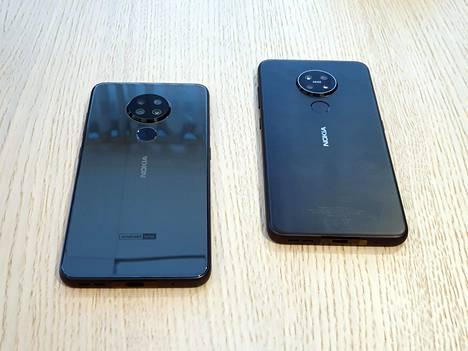 Takapuolelta puhelinmallit erottaa toisistaan siitä, että 6.2:ssa on kiiltävä pinta ja 7.2:n kamerassa Zeiss-logo.