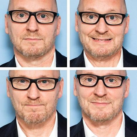 Tässä on esillä neljä tyypillistä mikroilmettä. Ylhäällä vasemmalla neutraali ilme, ylhäällä oikealla pelko, alhaalla vasemmalla viha sekä alhaalla oikealla ilo.