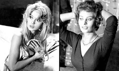 Brigitte Bardot (vasemmalla) ja Sophia Loren olivat aikansa seksisymboleita.