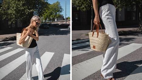 Metin kesätyylin muodostavat bandeau-yläosa sekä liehuvat valkoiset housut.