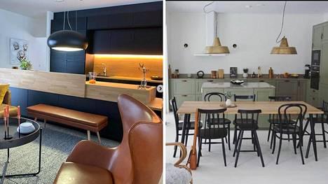 Suomalaiset kertovat, mistä onnistuneen avokeittiön tyyli koostuu. Vasemmalla itse suunniteltu avokeittiö, oikealla Ikean rungoista koottu kokonaisuus.