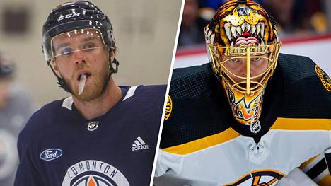 23-vuotias Connor McDavid (vas.) on mättänyt hurjia tehoja NHL:ssä jo viisi kautta. Tuukka Rask (oik.) oli paras suomalainen NHL Networkin tuoreella listalla.