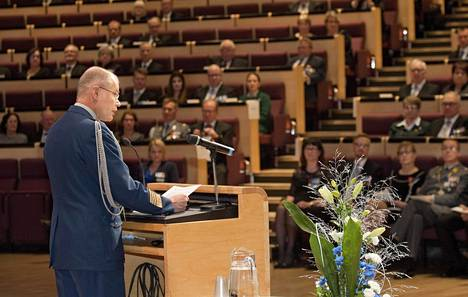 Kenraali Jarmo Lindberg puhui valtakunnallisessa maanpuolustusjuhlassa sunnuntaina Lappeenrannassa.