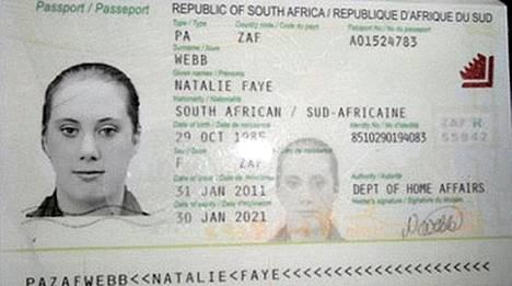 Samantha Lewthwaiten väitetään matkustaneen Keniaan väärennetyllä Etelä-Afrikan passilla ja nimellä Natalie Webb.