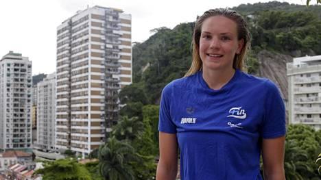 Jenna Laukkanen leireilee olympiamaisemissa Rio de Janeirossa.