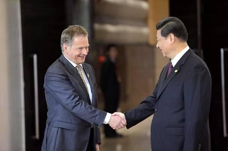 Suomen presidentti Sauli Niinistö ja Kiinan presidentti Xi Jingping.