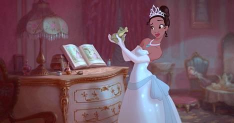 Tältä prinsessa Tiana näytti vuonna 2009 ilmestyneessä Prinsessa ja sammakko -animaatiossa.