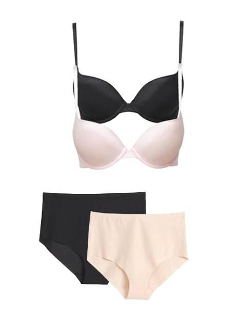Mywearin alusvaatteet ovat simppeleitä käyttövaatteita. Alushousut 14,99 € / 2 kpl, liivit 19,99 €.