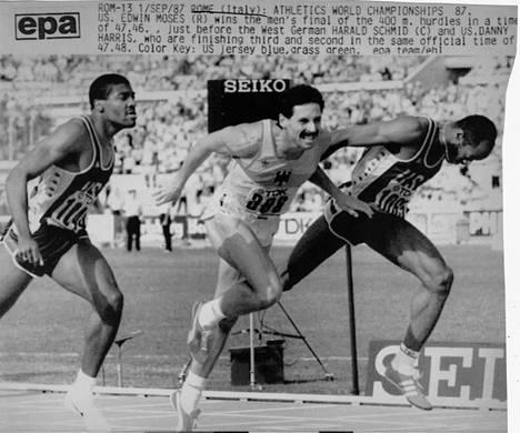 Danny Harris, Harald Schmid ja Edwin Moses kävivät ikimuistoisen kamppailun 400 metrin aitojen maailmanmestaruudesta Rooman olympiastadionilla.