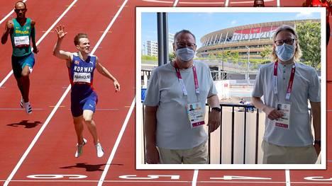 Tapani Parm uskoo, että nuorempi kollega Tuomas Jauhiainen (oik.) on tuleva kesäolympiakisojen tähtiohjaaja. Tokiossa Ylen ammattilaisilla on suuri rooli yleisurheilussa.