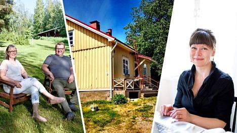 Sari Lindström-Pappinen ja Pauli Pappinen (vas.) ja Sari Hyvärinen ovat mökkivuokraajia.
