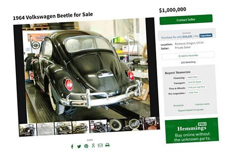 Varastossa pidetyn Kuplan pyyntöhinta on miljoona taalaa. Vertailun vuoksi: samalla sivustolla kaupataan yli 16 000 kilometriä ajettua, vuosimallin 1966 Kuplaa 15 995 dollarilla.