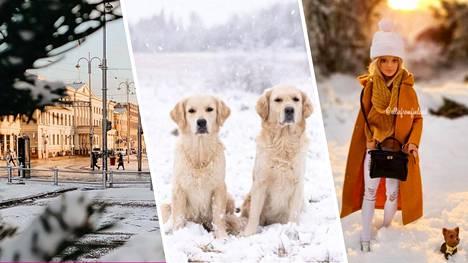 Tänään eri puolella eri puolella Suomea herättiin valkoiseen näkyyn. Ensilumi satoi myös Helsinkiin (vasemmalla).
