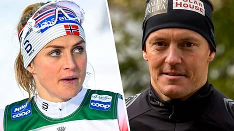 Sami Jauhojärvi (oik.) raportoi kohtaamisestaan Therese Johaugin kanssa.