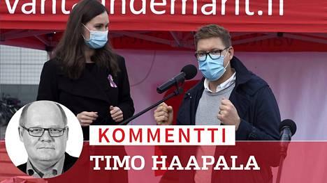 Sanna Marin ja Antti Lindtman demareiden tilaisuudessa Vantaalla lokakuussa.
