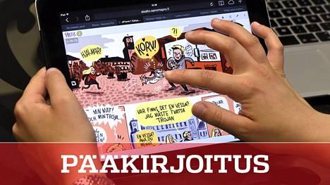 Lukiolainen tutkii ruotsin kielen digitaalista oppimateriaalia tabletilla.