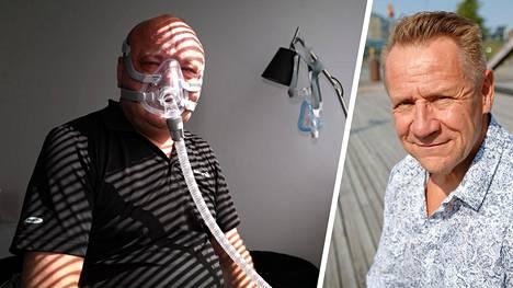 Tapio Suominen esittelee uniapnean hoitoon tarkoitettua maskia kotonaan. Suominen kertoi IS:n haastattelussa elokuussa, että uniapneasta kärsineen Olli Lindholmin kuolema oli yksi syy sille, että hän hakeutui tutkimuksiin.