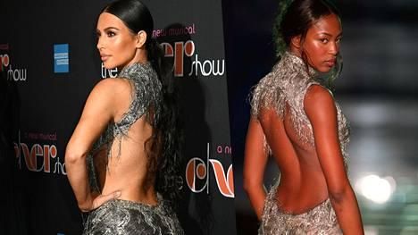 Kim Kardashian ja Naomi Campbell samassa mekossa parinkymmenen vuoden erolla.