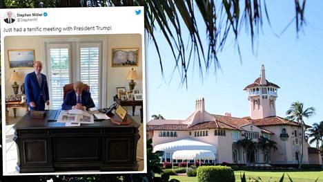 Trumpin työhuone sijaitsee mediatietojen mukaan Mar-a-Lago-yksityisklubin tanssiaissalin yläkerrassa.