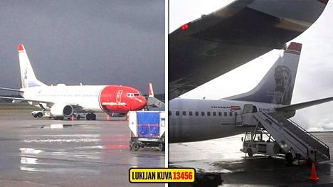 Norwegianin kone EI-FHY Lontoosta sai osuman salamasta lähestyessään Helsinki-Vantaan lentoasemaa Espoon ilmatilassa. Kuva koneesta ennen Palma de Mallorcalle lähtevää lentoa tänään.