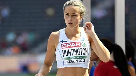 Maria Huntington on ennätystahdissa neljän lajin jälkeen.