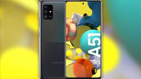Samsungin Galaxy A51 -puhelimesta on olemassa sekä 4g- että 5g-versio. Molemmat tekevät kauppansa hyvin. Kuvassa 5g-malli.