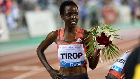 Agnes Tirop kuvattuna vuonna 2018.