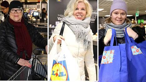 Hillevi Greggilä (vas.), Helena Lindroos ja Jonna Sjögren asioivat Lidlissä tänään.