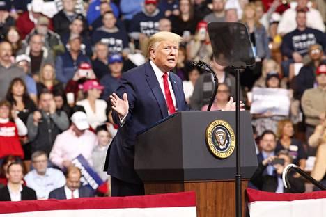 Presidentti Donald Trump viime viikolla kampanjatilaisuudessaan New Hampshiressa.