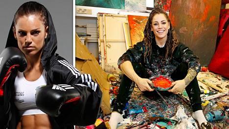 Nyrkkeilijä Eva Wahlström valmistui kaksi vuotta sitten taiteen kandidaatiksi. Hän käyttää maalaamisessa kehoaan.