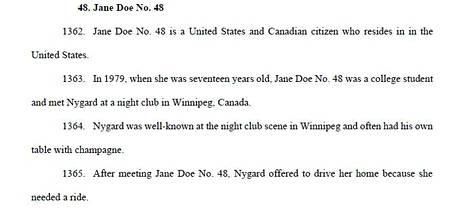 Nygårdia vastaan nostetun ryhmäkanteen julkisessa versiossa on 57 naista, joista käytetään nimitystä Jane Doe heidän henkilöllisyytensä suojelemiseksi. KC Allan on Jane Doe numero 48.