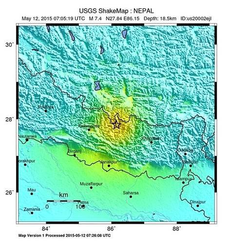 Yhdysvaltain geologisen tutkimuskeskus USGS julkaisi tämän kartan järistyksen sijainnista.