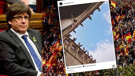 Irtisanottu Katalonian aluejohtaja Carles Puigdemont julkaisi kuvan työhuoneensa ikkunasta Instagramissa.