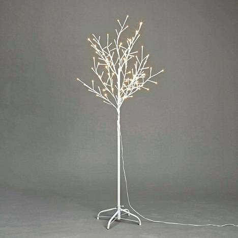Jos ulkona ei vielä näy valkeita puita, voi tunnelmaa tuoda sisälle valkoisella valopuulla. Valopuu Cello on 1,5 metriä korkea. 34,95 euroa, K-rauta.