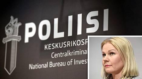 KRP:n tutkinnanjohtaja rikoskomisario Sanna Springare tiedotustilaisuudessa KRP-talolla 27. maaliskuuta.