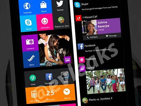 Twitterissä Evleaks -tilillä vuodettu kuva Nokian huhutun Normandy -puhelimen käyttöliittymästä.