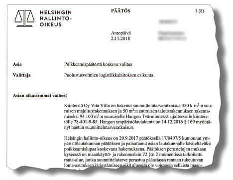 Helsingin hallinto-oikeus katsoi marraskuun alussa, että rakennuspaikan sijainti ampuma-alueen välittömässä läheisyydessä rajoittaa rakentamista.