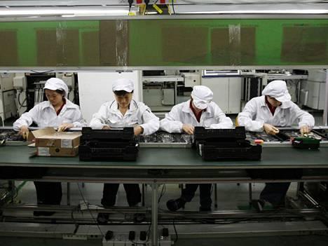 Arkistokuva eräästä Foxconnin tehtaasta toisaalla Kiinassa.