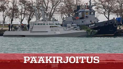 Venäjän takavarikoimat ukrainalaisalukset Kertshin satamassa 28. marraskuuta.