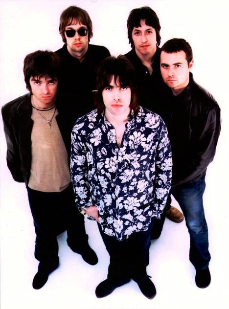 Oasis, kuten se oli vuonna 1999: vasemmalta Noel Gallagher, Andy Bell, Liam Gallagher, Gem ja Alan White.
