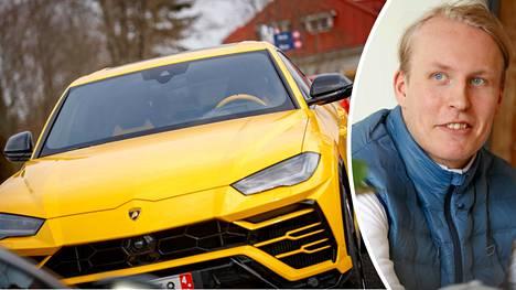 Laineen Lamborghinista löytyy tyylikkäitä yksityiskohtia, kuten keltainen ratti.