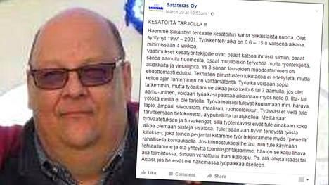 Toimitusjohtaja Juha Paukkusen konepaja löysi kaksi reipasta kesätyöntekijää somehitiksi nousseen ilmoituksen avulla.