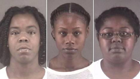 Marilyn McKey (vas.), Tonacia Tyson sekä Taneshia Jordan poliisin julkaisemissa pidätyskuvissa.