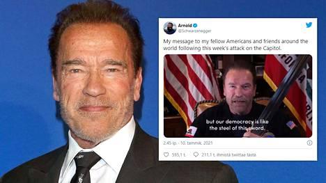 Arnold Schwarzenegger jakoi kantaaottavan videon sunnuntaina kaikilla sosiaalisen median kanavillaan.