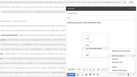 """Googlen mukaan toiminto on """"sähköposti tosi laiskoille"""". Sen avulla voi tallentaa ja lähettää tiuhaan käytettyjä viestejä kirjoituslomakkeen vieressä olevan painikkeen avulla."""