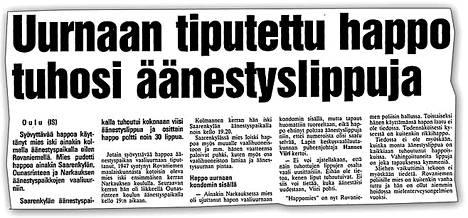 Ilta-Sanomat kertoi poikkeuksellisesta tapauksesta 18. maaliskuuta 1991.