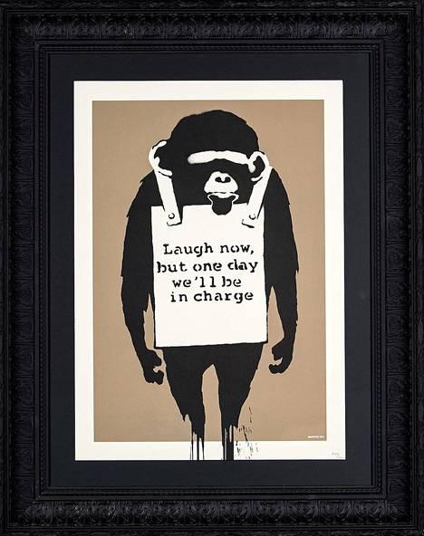 """""""Naura nyt, mutta jonain päivänä me olemme vallassa"""", on ennuste eläinten puolesta. Laugh Now, 2004, serigrafia."""